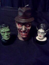 Fredd, Frankenstine and bride of Frankenstine candles...halloween