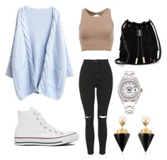 """Untitled #1"" by duongle ❤ liked on Polyvore featuring Topshop, Converse, Vince Camuto, Rolex and Vita Fede"