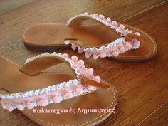 Romantic sandals - pink pom-pom, white lace