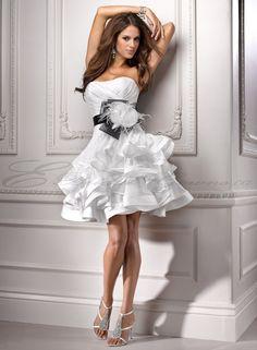 Short Wedding Dresses | Vicenza Organza Short A-line Soft Curved Neckline Wedding Dress