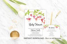 Flower Baby Shower Invitation girl baby shower invite Instant Download