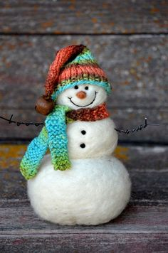 Snowman Christmas Decor Needle Felted wool by