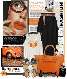 """International orange"" by tamara-p ❤ liked on Polyvore"