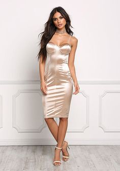 Taupe Satin Bustier Bodycon Dress - Going Out - Dresses