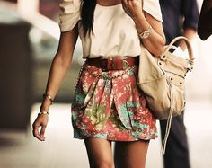 Floral skirt with white top! <3