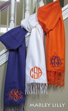 Monogrammed scarf from Marley Lilly Embroidery Monogram, Embroidery Applique, Embroidery Designs, Machine Embroidery, Towel Embroidery, Embroidered Towels, Custom Embroidery, Just In Case, Just For You