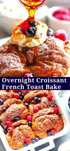 christmas breakfast This Overnight Croissant French Toast Bake can be prepared ahead of time, perfect for feeding breakfast to a crowd! This baked french toast casserole is perfect for Mothers Day, Easter, Christmas or any other brunch! Brunch Recipes, Gourmet Recipes, Breakfast Recipes, Snack Recipes, Breakfast Pancakes, Croissant Breakfast Casserole, Vegan Recipes, Breakfast Bake, Sweet Breakfast