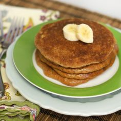 Almond Butter Pancakes- 1/2c almond butter, 1/2c applesauce, 2 eggs, 1/2t baking soda, 1/2t cinnamon, 1/2t vanilla