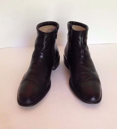 Vintage Bally Mens Black Leather Zippered Beatles Ankle Boots Size 8 M Italy  #Bally #AnkelBoots #Clubwear