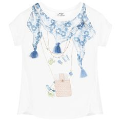 Girls ivory t-shirt by Mayoral Chic. The front of this pretty top is in a silky soft fabric with a blue scarf print, embellished with sparkling silver beads and tassel threads. The back is made from stretch jersey. It has cap sleeves, a stretch rib round neck and scalloped hem.