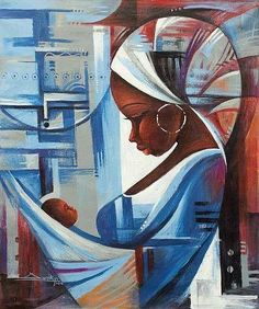Expressionist Painting of a West African Mother and Child, 'Mother and Child' & # Mutter und Sohn & # – Expressionistisches Gemälde einer Mutter und eines Kindes aus Westafrika pintura Vll (Visited 1 times, 1 visits today) Mother And Child Painting, African Art Paintings, Cubist Paintings, Afrique Art, Black Art Pictures, Art Africain, Black Girl Art, Black Artwork, Afro Art