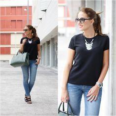 Primark Shirt, Parfois Watch, Mango Bag, Zara Jeans, Zara Sandals