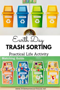 Earth Day Trash Sorting Practical Life Activity - The Little Montessori House - Recycling-diy Recycling Games, Recycling Activities For Kids, Fun Activities For Preschoolers, Earth Day Activities, Sorting Activities, Preschool Activities, Preschool Kindergarten, Toddler Preschool, Community Helpers Preschool