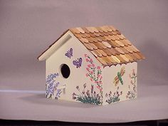 hand painted bird house side view