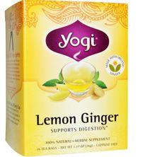 Herbal Organic Lemon Ginger Caffeine Free 16 Tea Bags 1.27 oz (36 g) Box Pack #yogitea