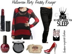 Fandom Inspired Fashion: Halloween Party #6: Freddy Krueger Inspired Outfit. Based on my favorite villain of all time, #Freddy #Krueger from the #Nightmare on #Elm #Street series. This #Halloween outfit includes a Freddy style sweater, #torn jeans and red heels with metal #spikes. #Blood red lipstick and nail polish, plus back #glitter #eyeshadow. Messenger bag has a Welcome to #Springwood with blood splatter design, which is the fictional town where the films were set.