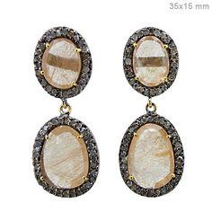 Silver Pave Diamond Rutile Quartz 14 K Gold Dangle Earrings Jewelry Couturechics #Handmade #DropDangle