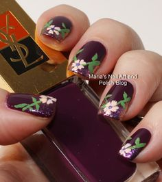 V-shaped floral French nail art