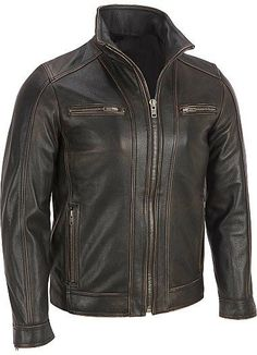 Men leather jacket men brown distressed by Myleatherjackets, $159.99