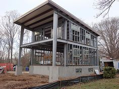 Steel Framed Houses - Modern Homes - Architectural Design - Steel Homes, Houses - Construction - Pre-fabricated Building & Construction - Green Building - Green Architecture - Sustainable Construction Steel Frame House, Steel House, Green Architecture, Architecture Design, Minimalist Architecture, Pole Building Plans, Green Building, Building A House, Steel Framing