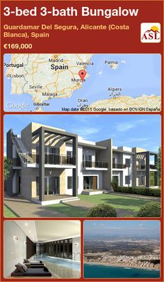 Semi-detached House for Sale in Guardamar Del Segura, Alicante (Costa Blanca), Spain with 3 bedrooms, 3 bathrooms - A Spanish Life Alicante, Semi Detached, Detached House, Valencia, Portugal, Bungalows For Sale, Residential Complex, Heated Pool, Built In Wardrobe