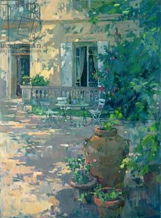 Terrace with Urns (oil on canvas) Artist: Susan Ryder