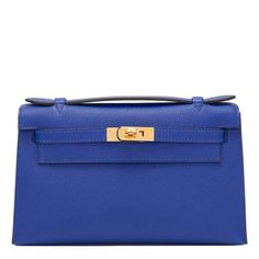 937dfa96fa81 Hermes Blue Electric Mini Kelly Pochette of epsom leather with gold  hardware in store fresh condition. Shop authentic Hermes at Madison Avenue  Couture.