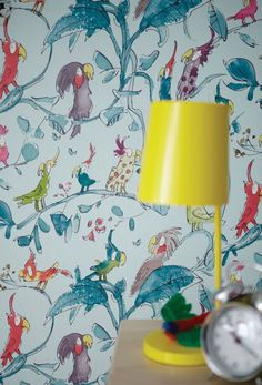 Cute Quentin Blake cockatoo wallpaper design for kids.