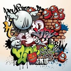 éléments d'art urbain graffiti