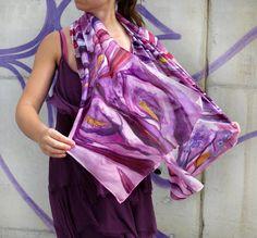 Hand painted silk scarf Calla Lilies scarf Purple by SilkRevolt