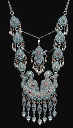 Encrusted bird necklace with inlaid stones Bukhara lt 19th c (archives sold Singkiang)