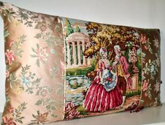 Silk Antique French Brocade with Needlepoint by Retrocollects