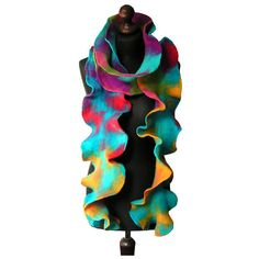 Felted collar felted scarf felted shawl art to wear autumn scarf... ($82) ❤ liked on Polyvore featuring accessories, scarves, shawls scarves, rainbow scarves, multi colored scarves, colorful scarves and colorful shawl