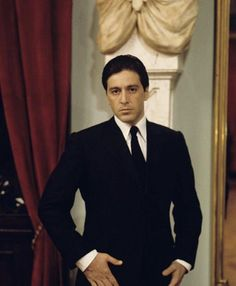 Photo of young Al Pacino in the set of The Godfather