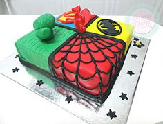 Bolo dos Super heróis Marvel: Hulk, Spiderman, Superman and Batman  Super heroes birthday cake  Doçuras da Patty