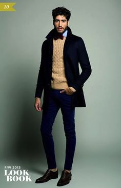 Black Wool Suit, Camel Cable Knit Cashmere Sweater, and Black Lace up Shoes, by El Burgués. Men's Fall Winter Fashion.