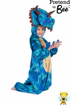 Childrens Girls Boys 5-7 years Red Dragon Costume by Pretend To Bee
