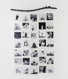 idee de cadre photo pele mele, plusieurs photos en noir et blanc, accrochées à une branche de bois