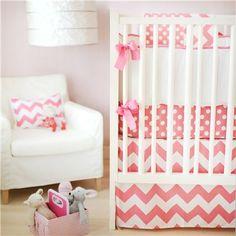 New Arrivals Crib Bedding Zig Zag Hot Pink