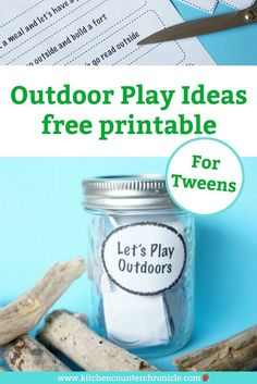 Balance screen time with outdoor play time for the tweens in your house with these simple outdoor play ideas. Print them off and pop them in a jar - the kids can be inspired all summer long. Autumn Activities For Kids, Printable Activities For Kids, Creative Activities, Learning Activities, Outdoor Activities, Happy Mom, Happy Kids, Outdoor Fun For Kids, Play Ideas