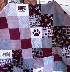 MISSISSIPPI STATE Quilt with Applique bulldogs by CashEwLaLa, $45.00