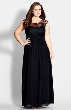 City Chic 'Lace Goddess' Gown (Plus Size) Beautiful! Saw one just like it at http://www.womensuitsupto34.com/