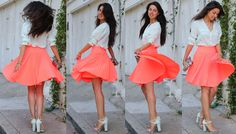 bright coral skirt! Add a turquoise necklace and your in business!