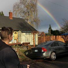 Thee most vibrant rainbow I have ever seen.  #rainbow #rainbowseason #portland #portlandoregon #stjohnsportland #greyskies #rainbowweather #pnw #pnwonderland #pdxbyfoot #dogwalk #puddletown #rainyday #cloudcity #northportland