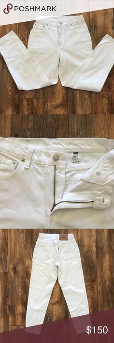 Levis Women White Jeans Red Tab 550 Relaxed Fit Levis Women White Jeans Red Tab 550 Relaxed Fit Tapered Leg Made USA Size 4 Pet  Brand: LEVI'S   Please Read the measurements for the exact size  Color: White  Size: 4 Pet (M)  Relaxed Fit Tapered Leg  Measurement:  Waist: 26 inches Inseam: 27 inches  Length: 35 inches Hem: 5.5 inches ( 11 inches around )  Made in USA  This is Pair of LEVI'S Authentic Red Tab Jeans.  Pre-owned: used and in good condition. Levi's Jeans