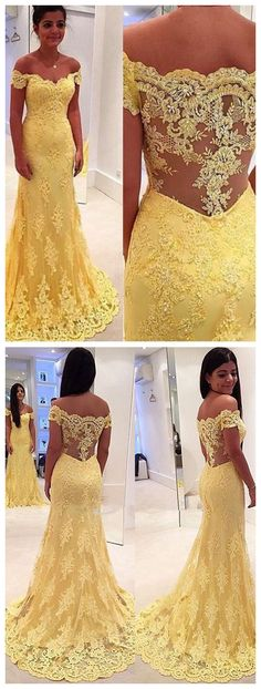 #offtheshoulder #dresses #Dress #yellow #lace #sweeptrain #party #promdress #sleeveless #sleevelessdress #Sheath #Mermaid #promdress #fashion #SexyGirl #fall #fallfashion #fallwinter2017 #autumn #autumncolors #autumnfashion #Today #todaysoutfit #todayimwearing  2017 Off-the-shoulder Sleeveless Lace Prom Dresses, Chic Mermaid Dresses ASD26717