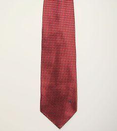Goldlion High Fashion Mens Red White Geometric Dress Neck Necktie Tie 56in #Goldlion #Tie