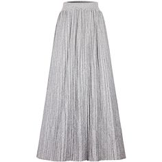 Elegant Pure Color Elastic Waist Pleated Maxi Skirt For Women ($25) ❤ liked on Polyvore featuring skirts, grey and women plus size bottoms