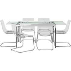 IKEA GLIVARP/ TOBIAS Table and 6 chairs, clear, clear (1,025 CAD) ❤ For family room