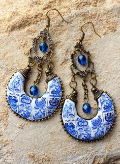 Ethnic Bohemian Gypsy Persian EARRINGs Portugal Antique Azulejo Tile Replica CHANDELIER - COIMBRA 1690 - 1775 BLUE  , Delft, Boho Hippie